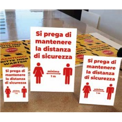 "DISPLAY IN ACRILICO ""SI PREGA DI MANTENERE LA DISTANZA DI SICUREZZA"""